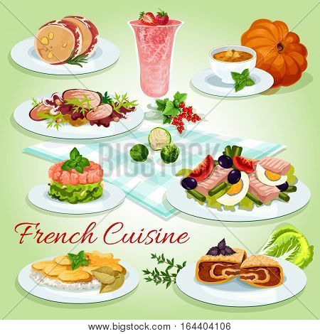 French cuisine cartoon icon of tuna egg salad with tomato and olive, potato cheese casserole, salmon tartare, duck salad, pumpkin soup, liver mousse in bacon, cream berry dessert, stuffed cabbage