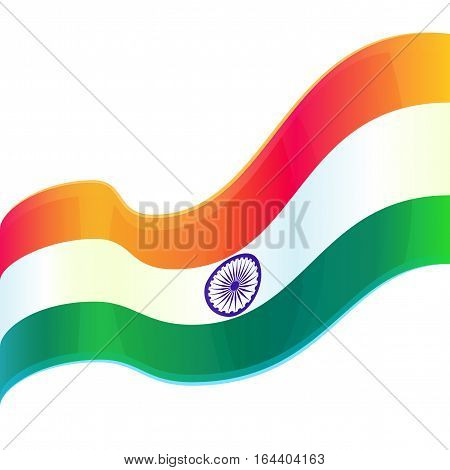 Republic Day in India, 26 January. Vector design element, background with Indian national flag, isolated on white