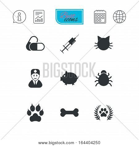 Veterinary, pets icons. Paw, syringe and bone signs. Pills, cat and doctor symbols. Report document, calendar and information web icons. Vector