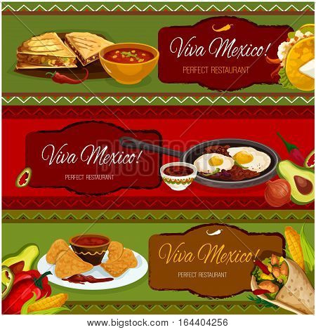 Mexican cuisine restaurant banner set with salad taco in corn tortilla, nachos with tomato chili sauce salsa, burrito with beef and vegetable stuffing, spicy bean stew with fried eggs