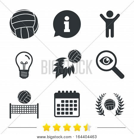 Volleyball and net icons. Winner award laurel wreath symbols. Fireball and beach sport symbol. Information, light bulb and calendar icons. Investigate magnifier. Vector