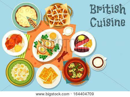 British cuisine main dishes with snack food icon of cheese toast, beef steak, fish rice salad, irish vegetable meat stew, scotch egg wrapped in sausage meat, duck pie, fruit bread, baked rabbit