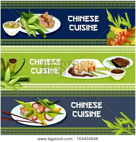 Chinese cuisine popular dishes banner set. Seafood and meat menu with peking duck, spicy battered shrimp, duck salad, pork rice soup and prawn salad, served with soy sauce and chopsticks