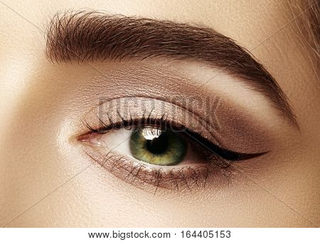 Beautiful macro shot of female eye with classic eyeliner makeup. Perfect shape of eyebrows brown eyeshadows and long eyelashes. Cosmetics and make-up. Closeup macro shot of fashion liner eyes visage