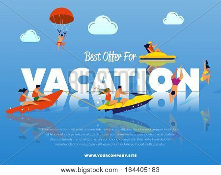 Best offer for vacation banner. People on banana boat. Swimming girl and couple on water bike. Kiting man. Couple riding jet ski. Beach activities. Summer water fun. Happy holiday. Outdoor leisure.