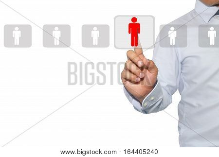 Networking and recruitment in Human resources for data mining assessment center and social mediaconcept in officer looking a man for employeeisolated on white background. poster