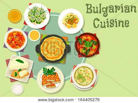 Bulgarian cuisine dinner dishes icon with vegetable meat stew, fried stuffed pepper, stuffed cucumber with cheese, eggplant pate with toast, meatball rice soup, pumpkin pie, eggplant stew