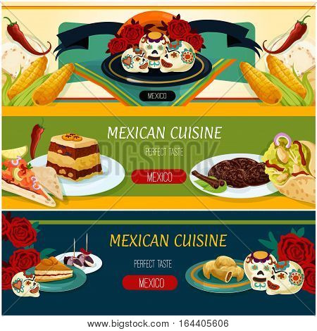 Mexican cuisine banner set. Chicken burrito, salmon ceviche tortilla, meat pie empanadas, bacon date tapas, bread pudding, apricot cake, cinnamon cookie, sugar skull candy. Mexican food label design