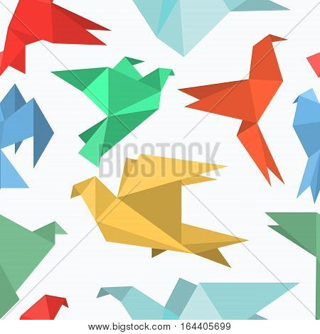 Origami paper birds in a flat style. Seamless pattern of pigeons / doves / colibri / hummingbirds set on a light background. Polygonal shape. Paper figures on flight. Vector illustration.
