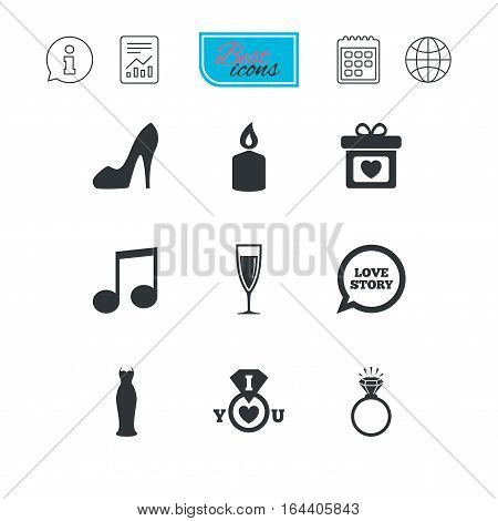 Wedding, engagement icons. Ring with diamond, gift box and music signs. Dress, shoes and champagne glass symbols. Report document, calendar and information web icons. Vector