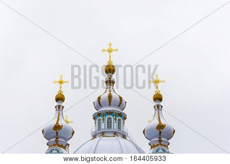 The Domes Of The Smolny Cathedral Of The Resurrection In St. Petersburg, Russia.