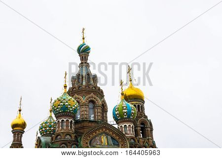 Domes Of Church On Spilled Blood In St. Petersburg, Russia.