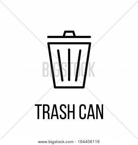Trash can icon or logo in modern line style. High quality black outline pictogram for web site design and mobile apps. Vector illustration on a white background.