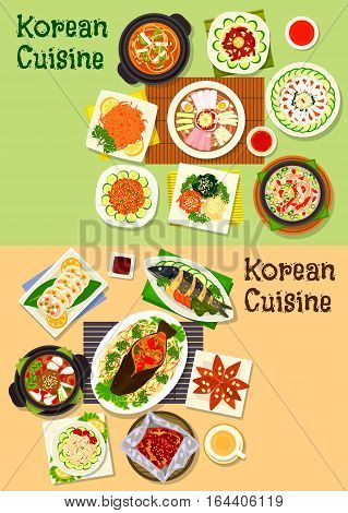 Korean and asian cuisine icon set of fish dishes with vegetables, kimchi pork soup, cold noodles, beef and duck soup, vegetable, bean and seafood salads, marinated veggies, beef, cod, ginger cookie