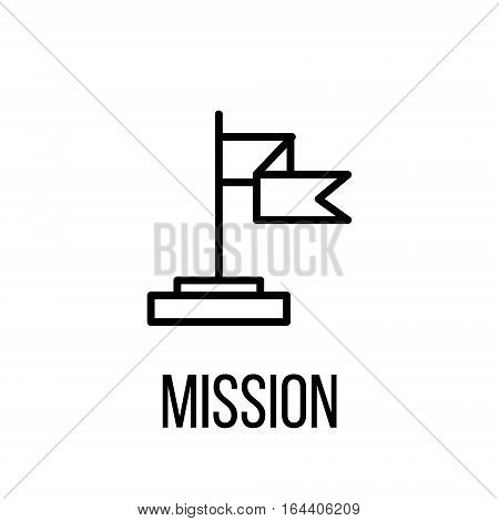 Mission icon or logo in modern line style. High quality black outline pictogram for web site design and mobile apps. Vector illustration on a white background.