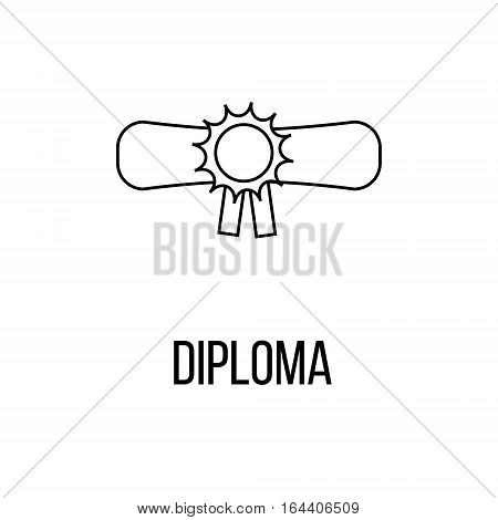Diploma icon or logo line art style. Vector Illustration isolated on white background.