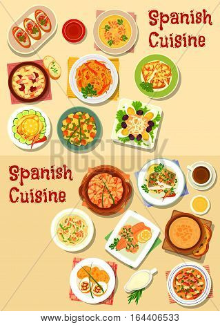 Spanish cuisine seafood dishes icon set with shrimp, tomato, bean sausage and garlic soups, seafood noodles, onion and fish tapas, grilled vegetables and fish, potato bean and fish salads, bean stew