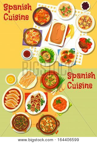 Spanish cuisine icon of seafood paella, ham rice, meat and fish stew with vegetables, baked pork, lamb kidney, liver and chicken, beef steak, sausage and almond soup, cookie churros, banana pudding