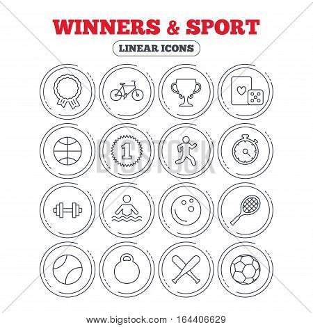 Winners and sport icons. Winner cup, medal award and first place emblem. Bike, playing card with dice and runner. Fitness dumbbell, basketball, football and bowling balls. Vector