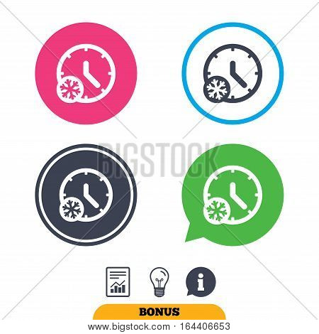 Winter time icon. Snowy cold day sign. Daylight saving time with snowflake symbol. Report document, information sign and light bulb icons. Vector
