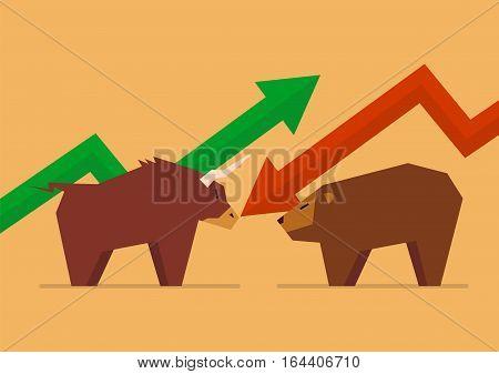 Bull vs Bear symbol of stock market. vector illustration