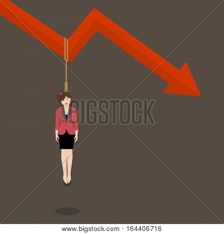 Business woman hang herself on a graph down. Business concept