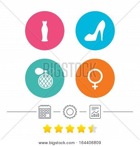 Wedding dress icon. Women shoe sign. Perfume glamour fragrance symbol. Calendar, cogwheel and report linear icons. Star vote ranking. Vector