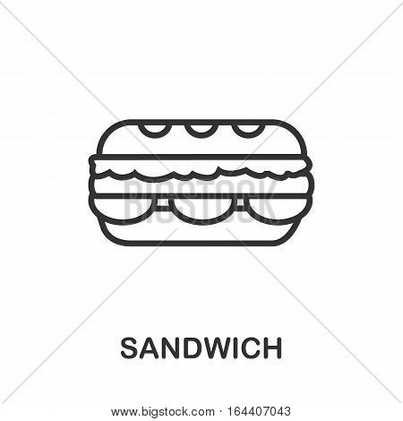 Sandwich icon or logo line art style. Vector Illustration.