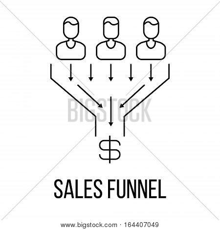 Sales funnel icon or logo line art style. Vector Illustration.