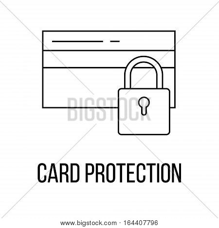 Card Protection or logo line art style. Vector Illustration.