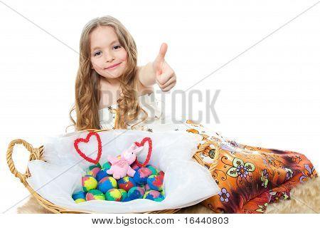 little girl and easter eggs