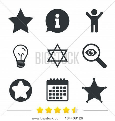 Star of David icons. Sheriff police sign. Symbol of Israel. Information, light bulb and calendar icons. Investigate magnifier. Vector