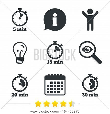 Timer icons. 5, 15, 20 and 30 minutes stopwatch symbols. Information, light bulb and calendar icons. Investigate magnifier. Vector