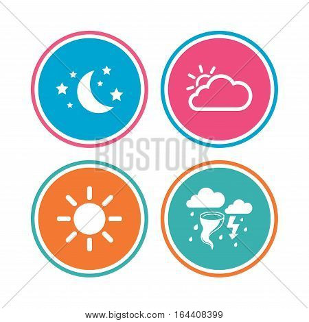 Weather icons. Moon and stars night. Cloud and sun signs. Storm or thunderstorm with lightning symbol. Colored circle buttons. Vector