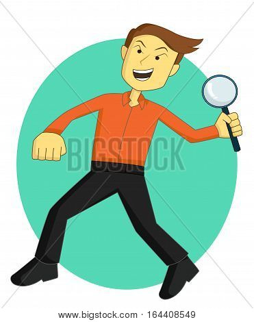 Detective with Magnifying Glass Cartoon Character. Vector Illustration.