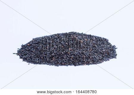 black sesame food healthy on white background