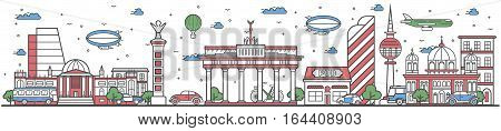 Travel in Berlin city banner vector illustration. Worldwide traveling concept with famous architectural attractions. Berlin cityscape panorama landmark line design poster. Travel banner design. Best world travel landmarks concept. Berlin landmarks. German