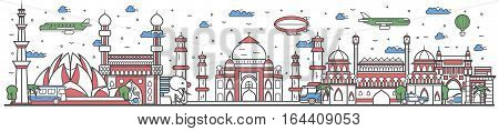 Travel in India country banner vector illustration. Worldwide traveling concept with famous modern attractions. India country landmark panorama tourist line design poster. Travel banner design. Best world travel landmarks concept. India landmarks.