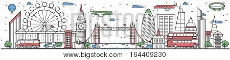 Travel in London city banner vector illustration. Worldwide traveling concept with famous modern attractions. London cityscape panorama landmark line design poster. Travel banner design. Best world travel landmarks concept. London landmarks.