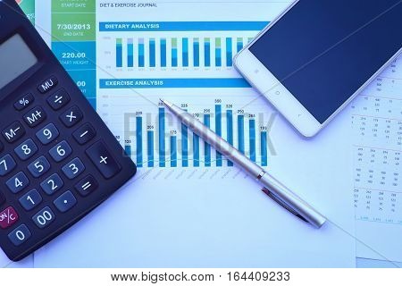 Showing business and financial report. Accounting For company