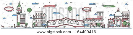 Travel in Venice city banner vector illustration. Worldwide traveling concept with famous modern attractions. Venice cityscape panorama landmark line design poster. Travel banner design. Best world travel landmarks concept. Venice landmarks.