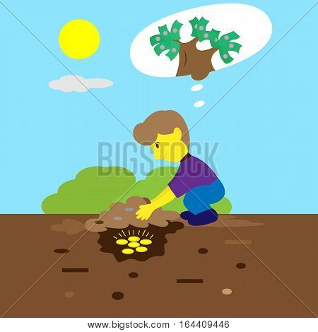 Young Man Burying Money Coins Cartoon Illustration
