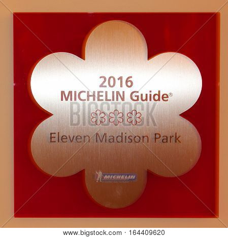 NEW YORK - JANUARY 8, 2017: Three Micheline star restaurant Eleven Madison Park in  Lower Manhattan