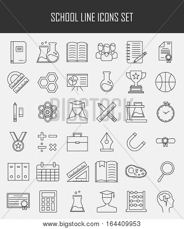 Education and back to school line icons set. Modern outline collection of school items and college objects, education equipment and teaching symbols. Vector illustration isolated on white background.