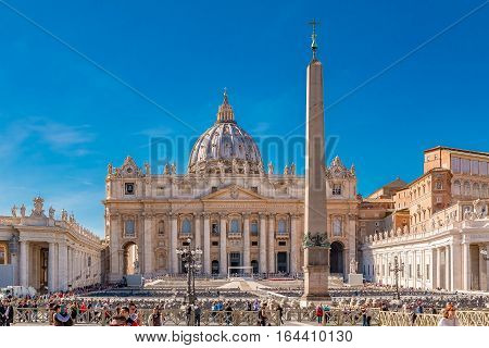 Saint Peter's Square By The Basilica In Vatican