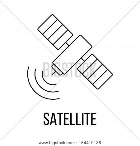 Satellite icon or logo line art style. Vector Illustration.