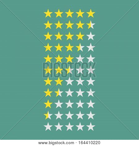 Simple flat gold star rating 5 to 0 stars (full and half stars). Average rating template bar. Vector illustration isolated on a background.