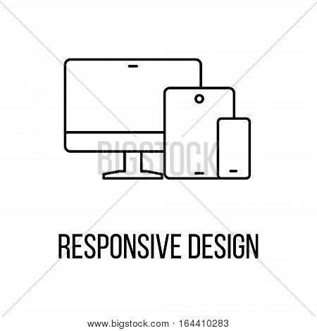 Responsive design icon or logo line art style. Vector Illustration.