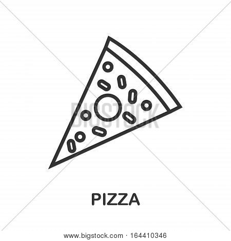 Pizza icon or logo line art style. Vector Illustration.