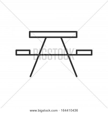 Picnic table icon or logo line art style. Vector Illustration.